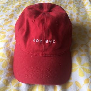 "Dark red ""BOY BYE"" cap"